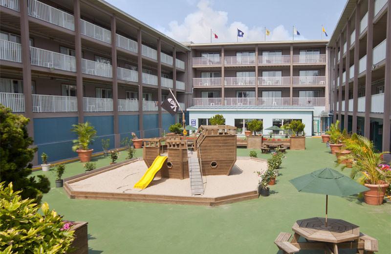 Children's playground in courtyard at Flagship Oceanfront Hotel Ocean City.