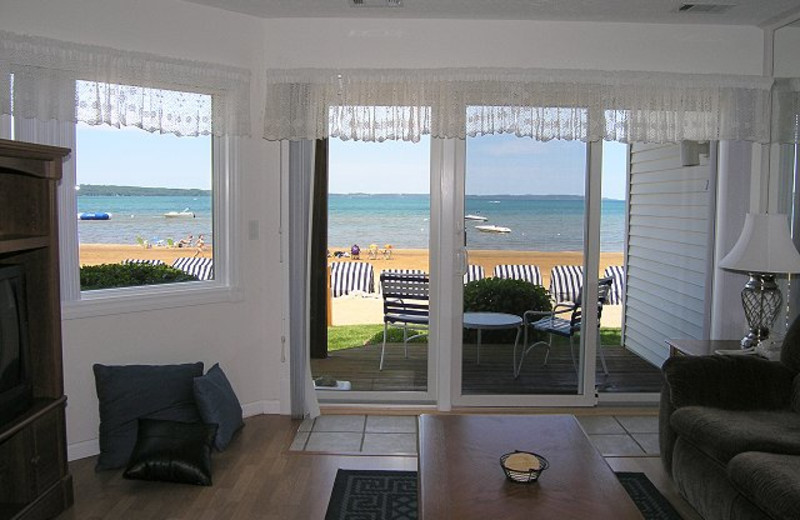 Vacation rental living room at The Beach Condominiums Hotel-Resort.