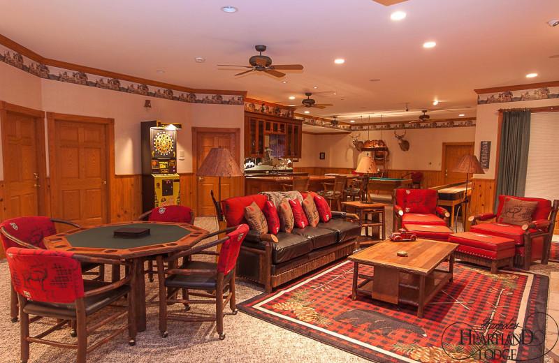 Rec room at Harpole's Heartland Lodge.