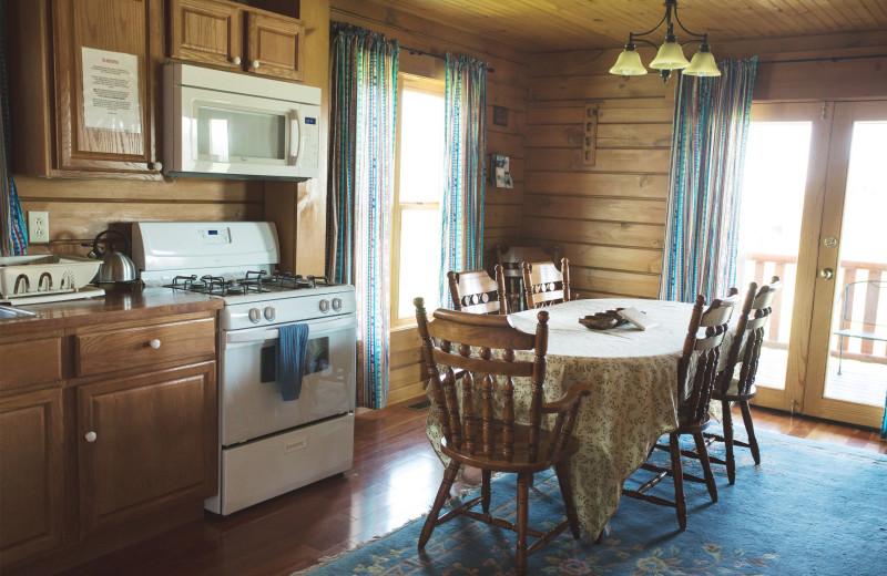 Cabin kitchen at Cobtree Vacation Rental Homes.