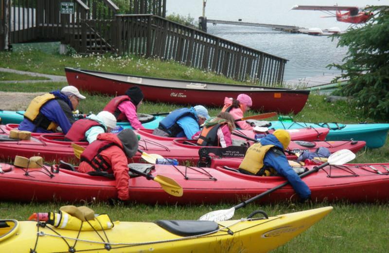 Kayaks at Trail Lake Lodge.