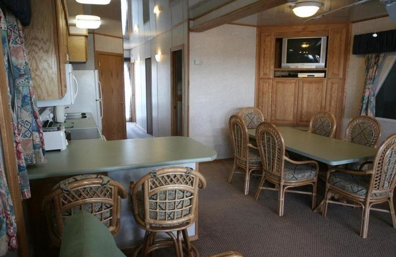Houseboat dining area at Trinity Lake.