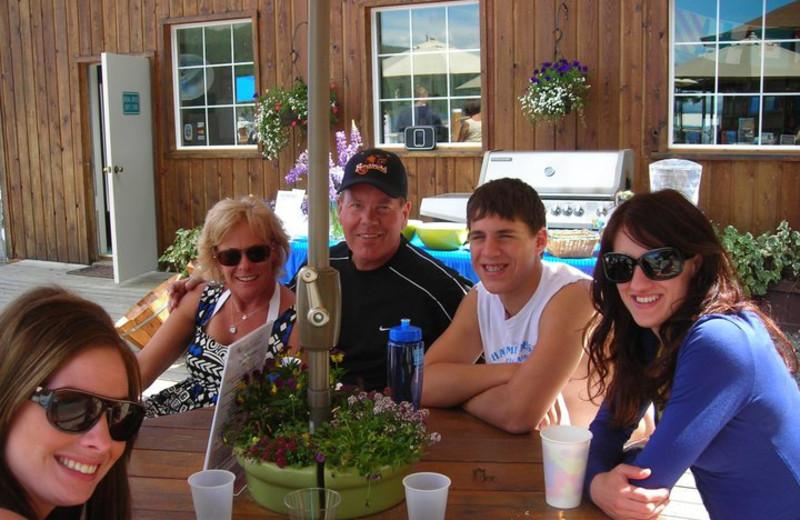 Family dining at Blue Diamond Marina & Resort.