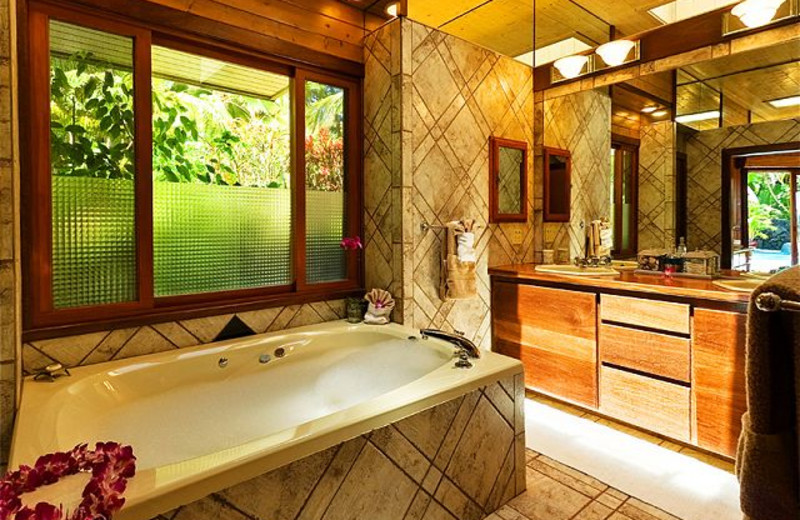 Vacation rental bedroom at Big Island Vacation Rentals.
