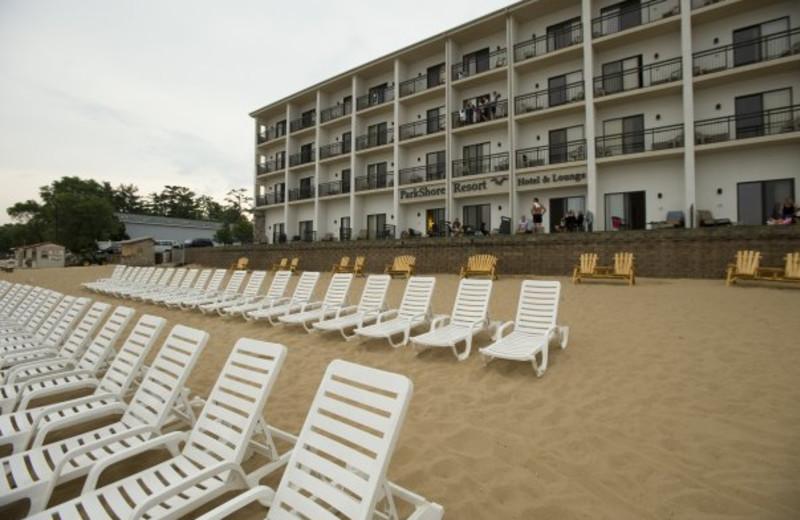 The beach at ParkShore Resort.