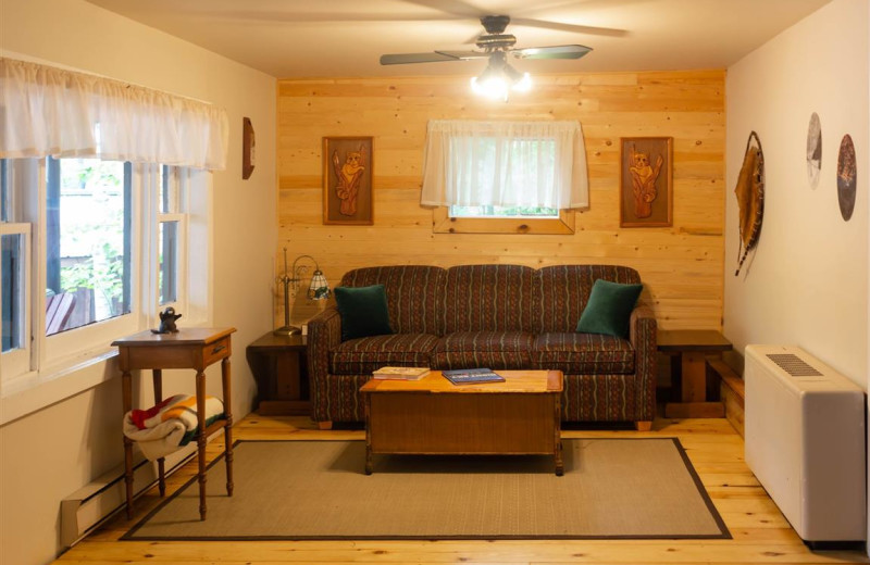 Cottage living room at Mattawa River Resort.