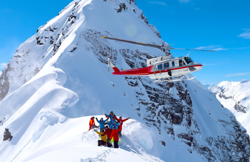 Helicopter skiing at Bugaboos Lodge.