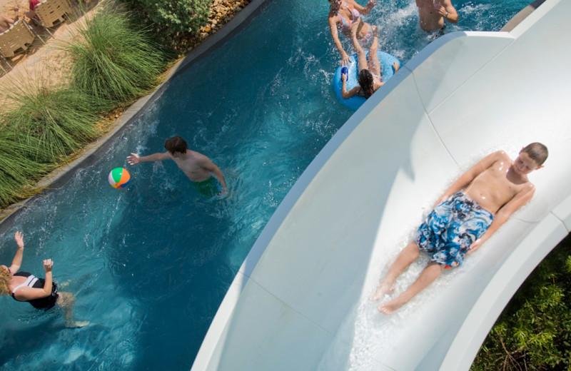 Lazy river and slide at Hyatt Regency Lost Pines Resort and Spa.