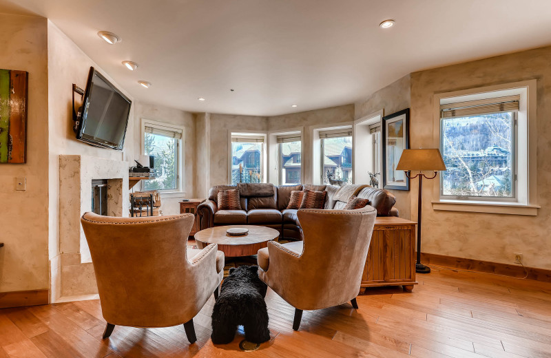 Rental living room at Centennial Lodge of Beaver Creek.