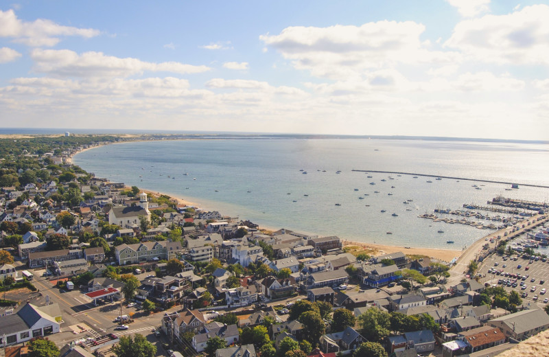 Aerial view of Harbor Hotel Provincetown.