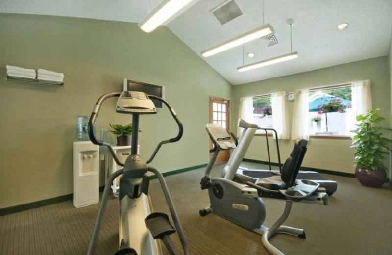 Fitness room at New Haven Village Suites.