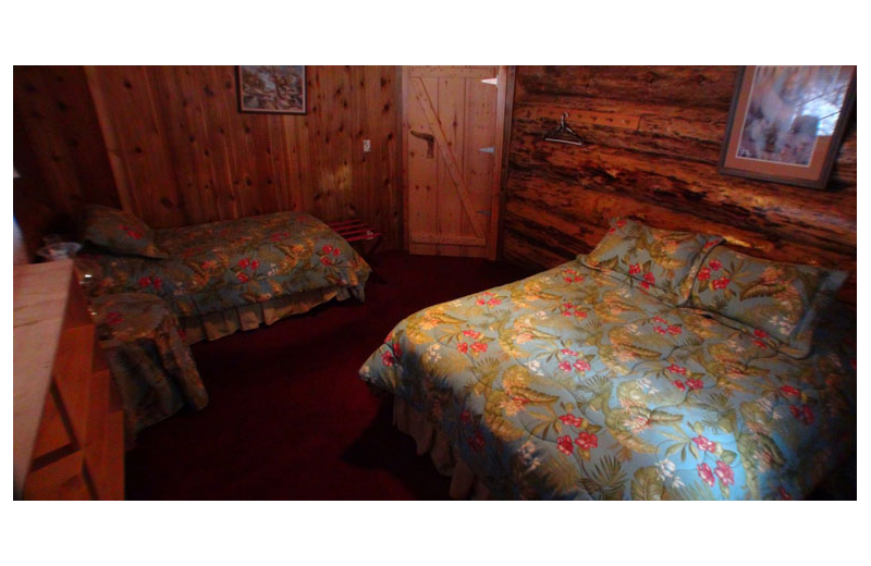 Cabin bedroom at Afognak Wilderness Lodge.