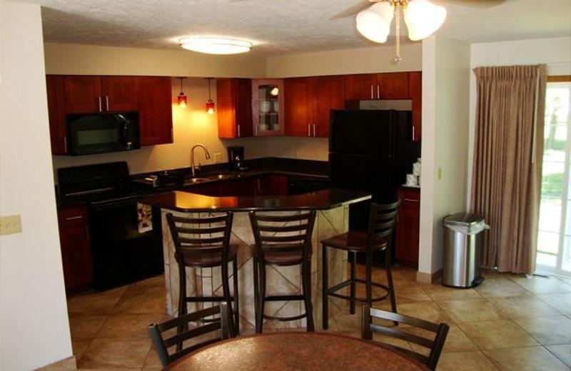 Condo kitchen at Island Club Rentals.