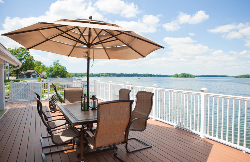 Guest patio at Bay Pointe Inn Lakefront Resort.