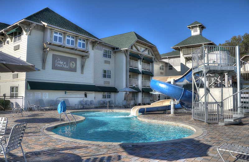 Outdoor pool at The Lodge at Five Oaks.