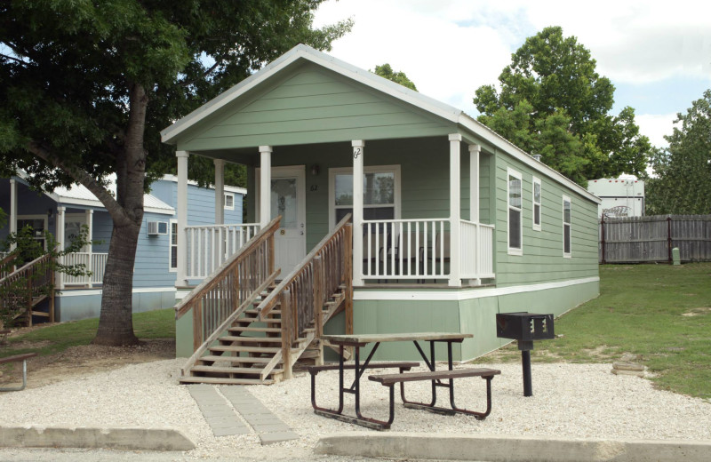 Cottage exterior at Hill Country RV Resort & Cottage Rentals.