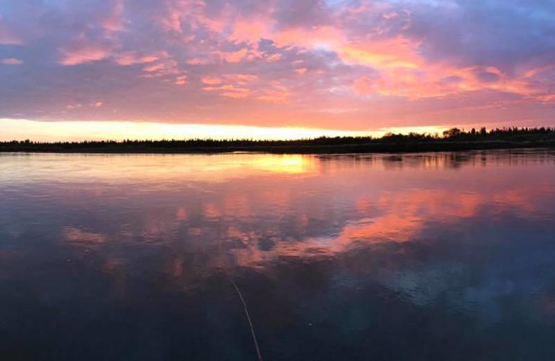 Sunset at Nushagak River Adventure Lodge.
