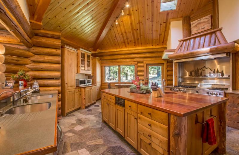 Rental kitchen at Tahoe Getaways.