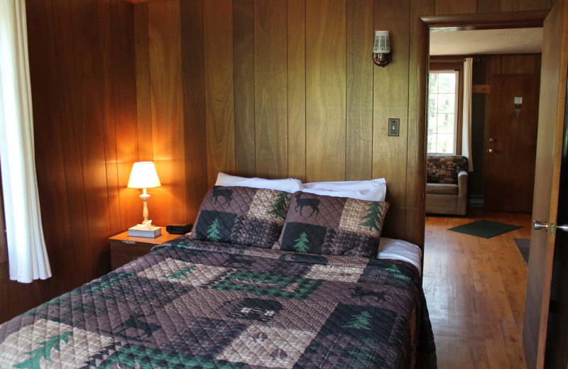 Cabin bedroom at Keweenaw Mountain Lodge.