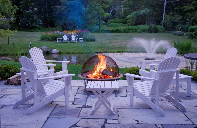 Patio fire pit at Reluctant Panther Inn and Restaurant.