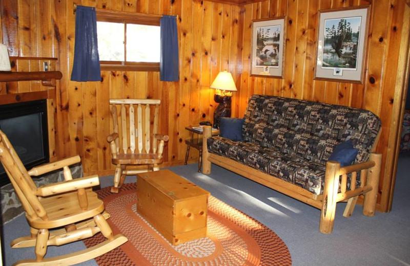 Cabin living room at Golden Eagle Lodge.