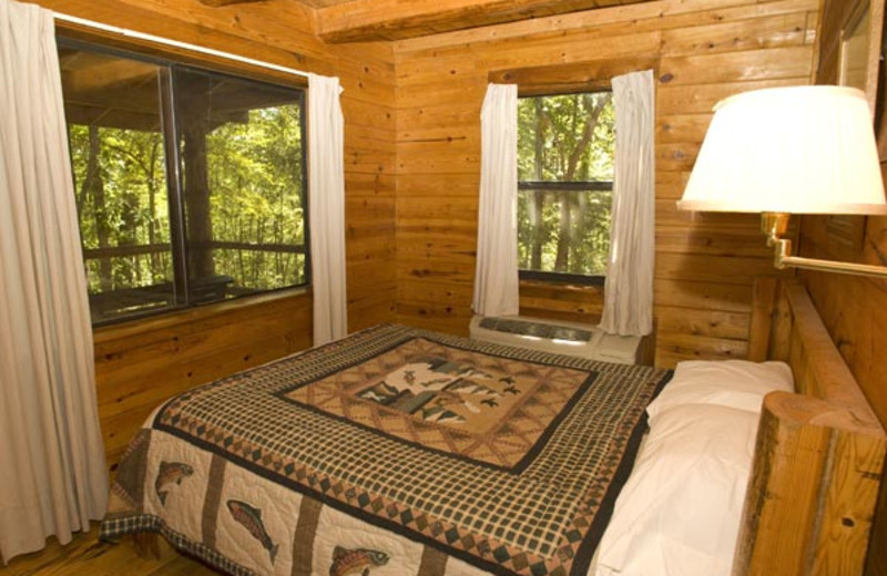 Cabin bedroom at Buffalo River Outfitters.