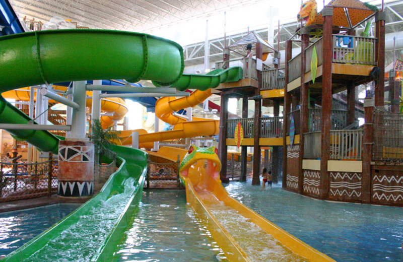 Indoor water slide at Kalahari Waterpark Resort Convention Center.