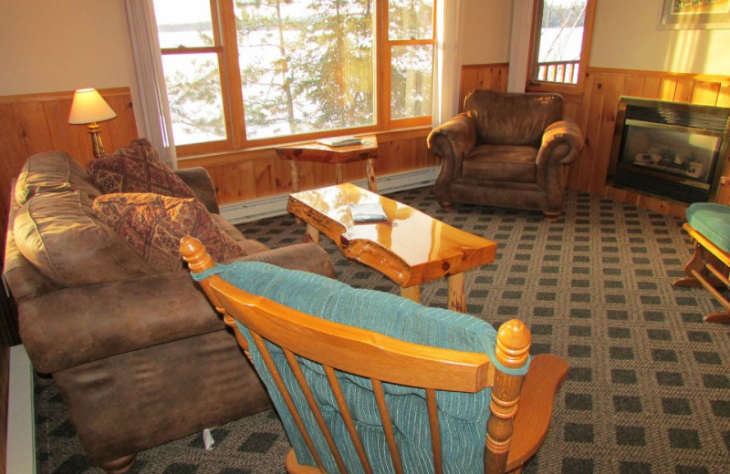Guest living room at Elbow Lake Lodge.