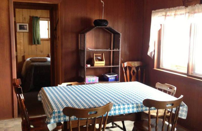 Cabin dining area at Hemlock Haven Resort.