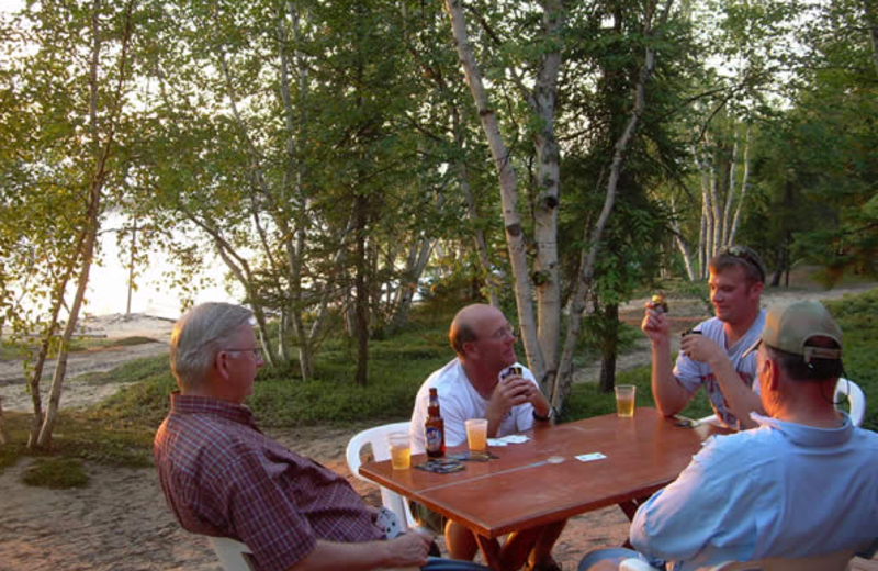 Chatting with friends at Tate Island Lodge.