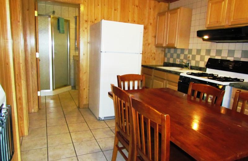 Cabin kitchen at Contessa Resort.