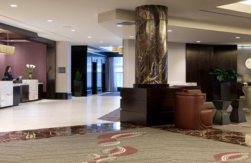 The stunning lobby at the Hyatt Regency Boston.
