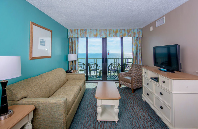 Suite living room at The Strand Resort Myrtle Beach.