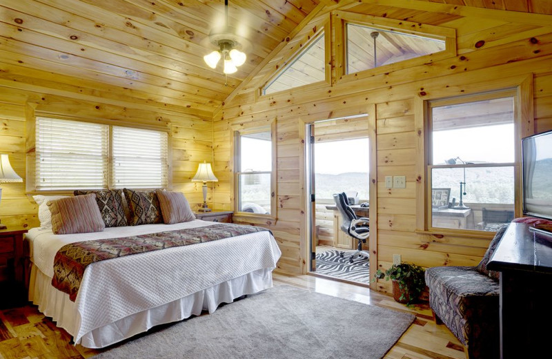 Rental bedroom at Nevaeh Cabin Rentals.