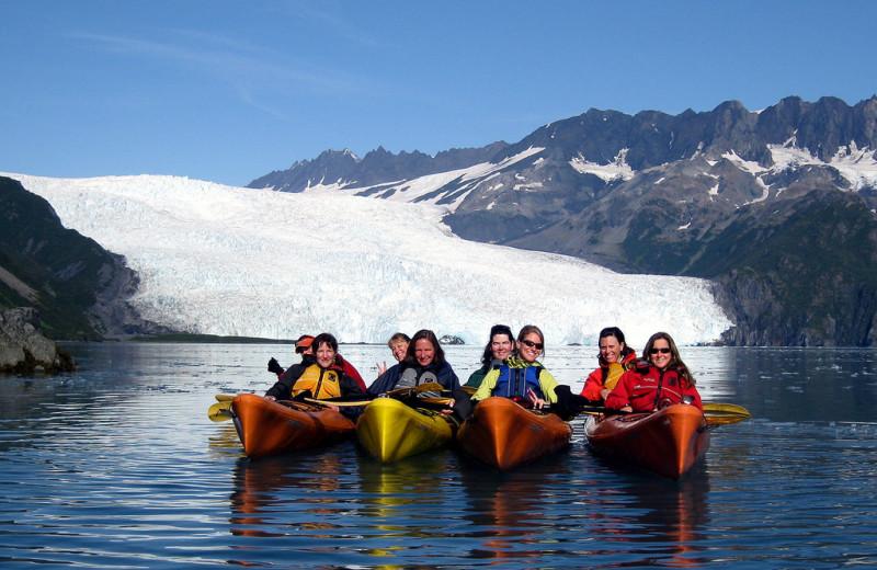 Group canoes at Kenai Fjords Glacier Lodge.