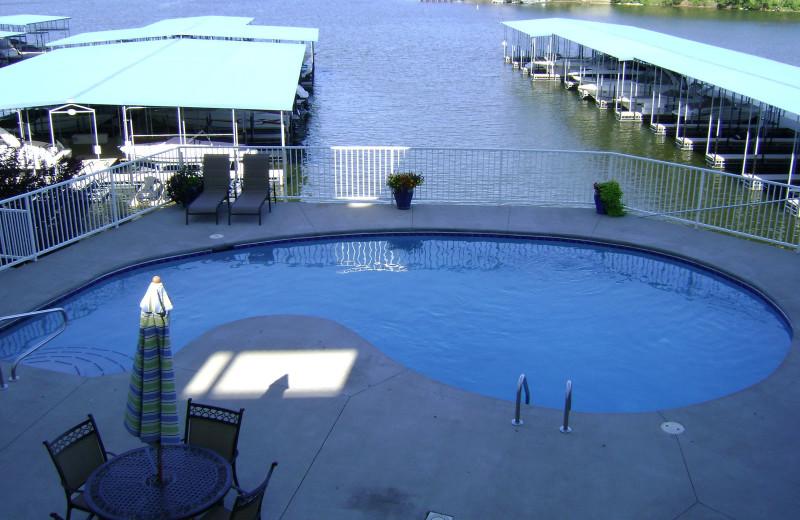 Vacation rental pool and marina at Your Lake Vacation/Al Elam Property Management.