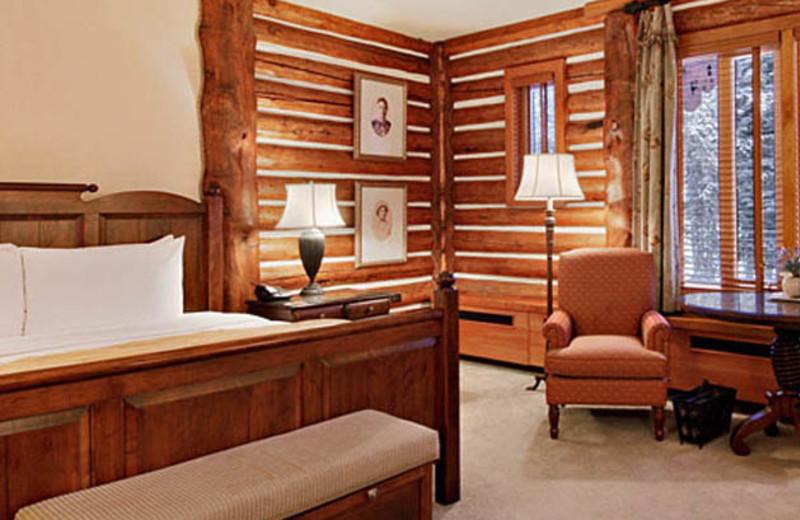Guest bedroom at The Fairmont Jasper Park Lodge.