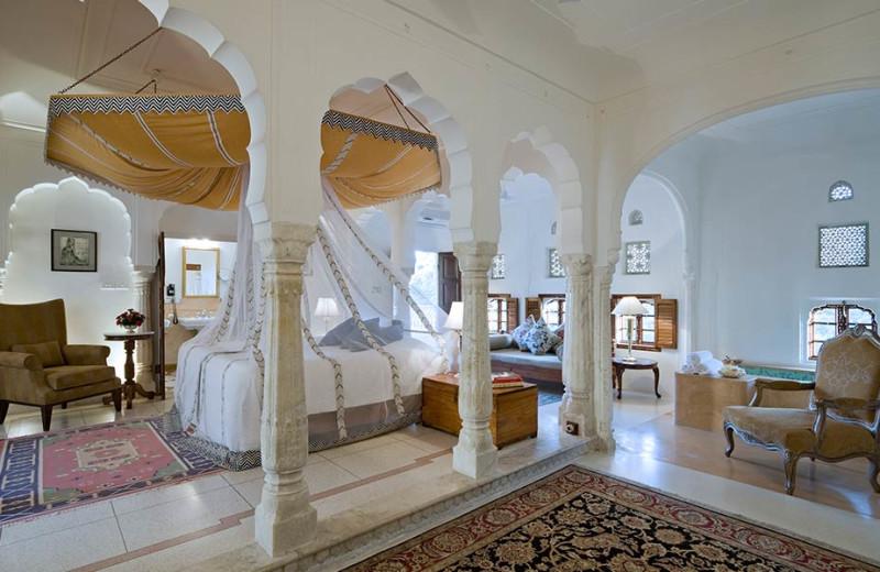 Guest room at Samode Palace.