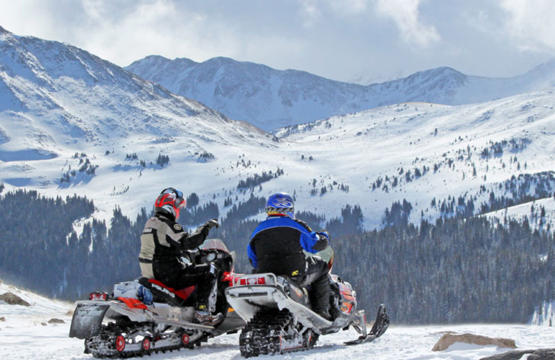 Snowmobiling at Mt. Princeton Hot Springs Resort.