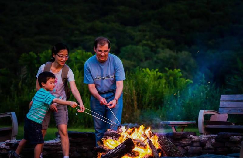 Family campfire at Shawnee Inn and Golf Resort.