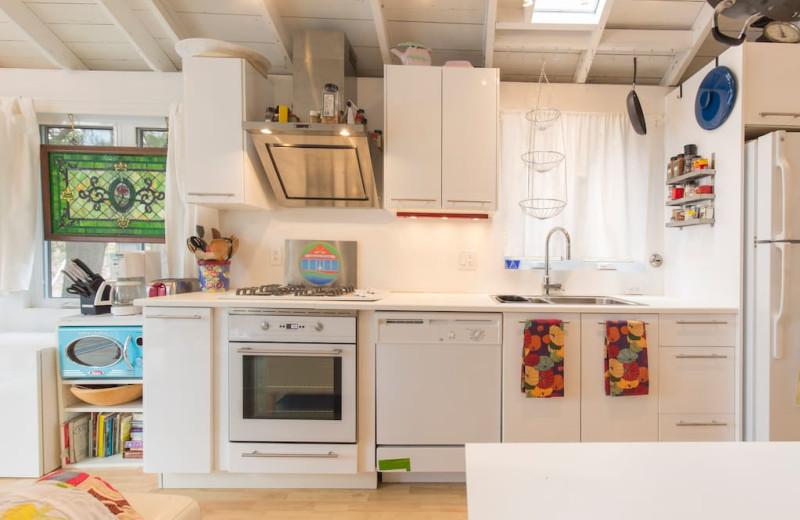 Cottage kitchen at Bobs Lake Cottages.
