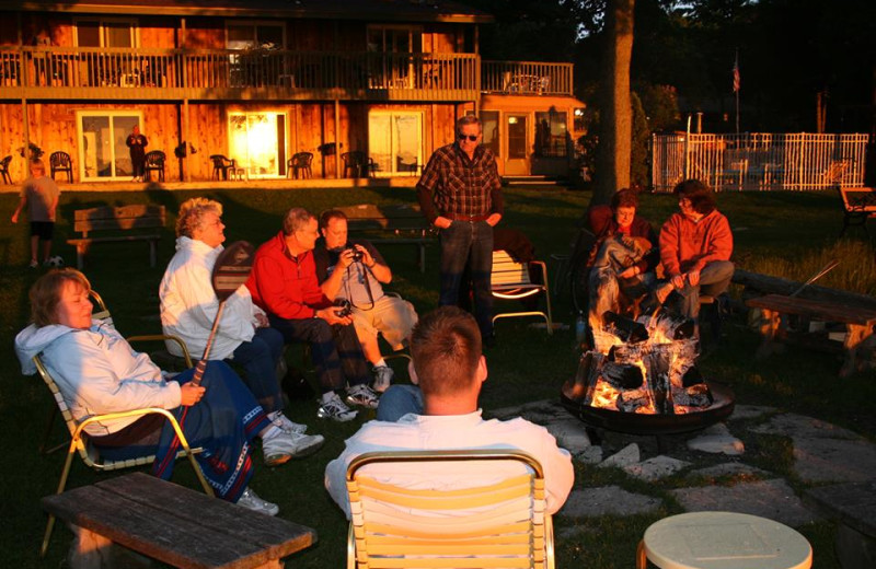Night campfire at The Shallows Resort.