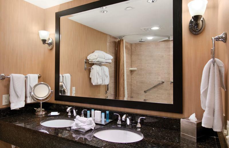 Guest bathroom at Hilton Suites Ocean City Oceanfront.