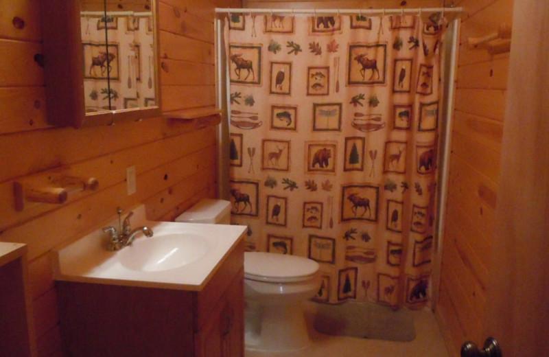Cabin bathroom at Lakewood Lodge.