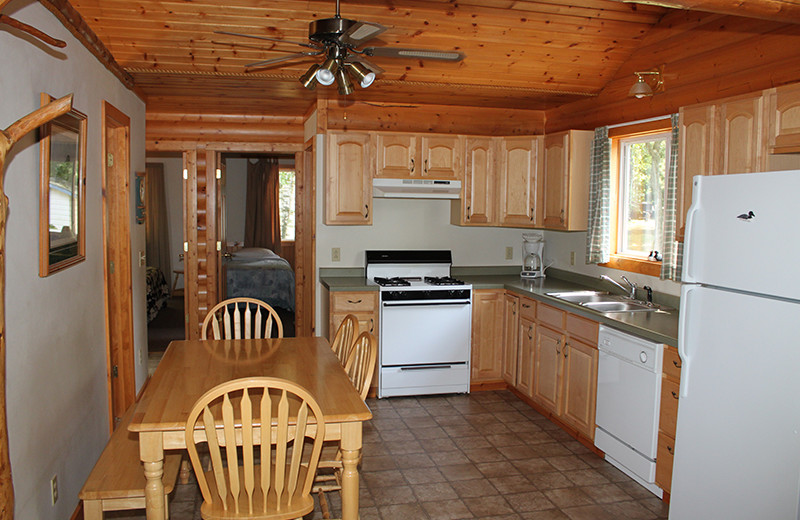 Cabin kitchen at Upper Cullen Resort.