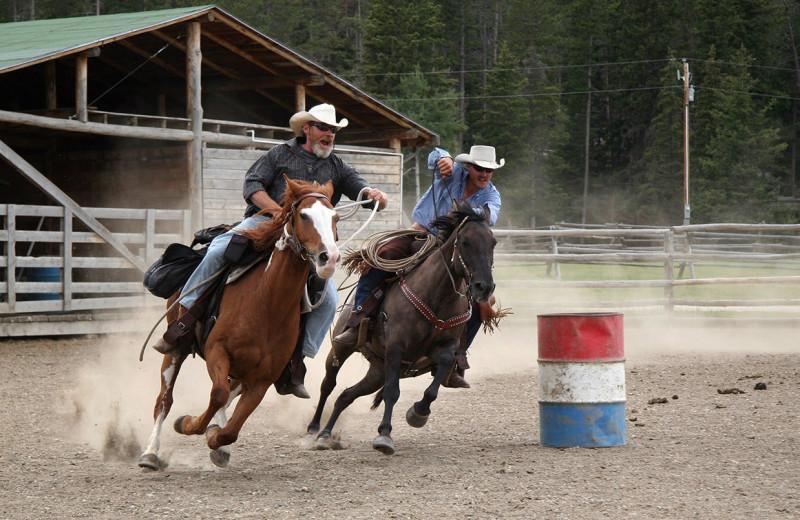 Barrel racing at Paradise Guest Ranch.
