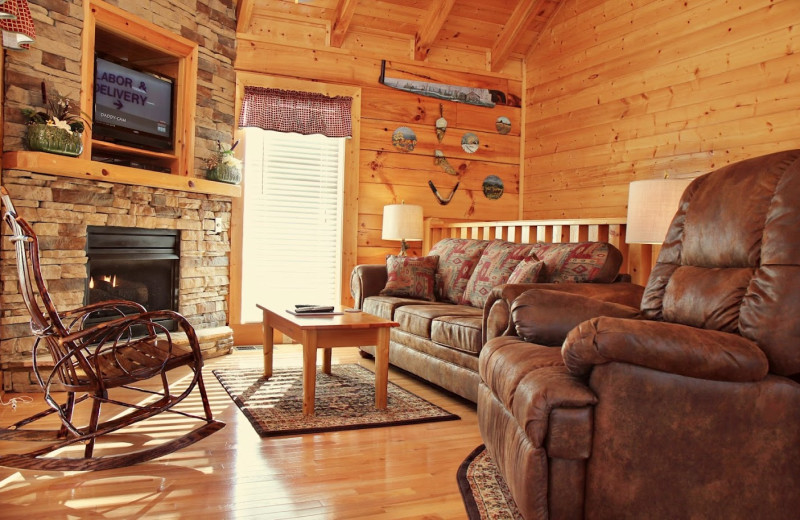 Cabin living room at Eagles Ridge Resort.