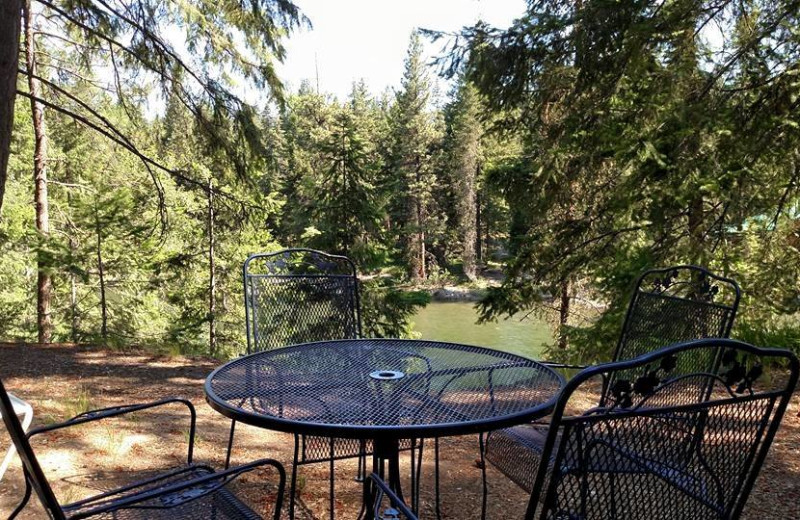Cabin patio at Natapoc Lodging.