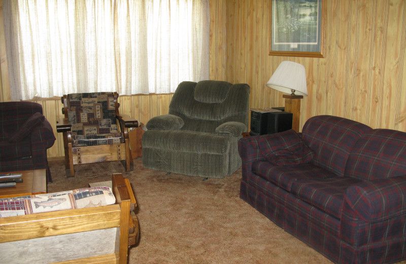 Cabin living room at Harris Hill Resort.
