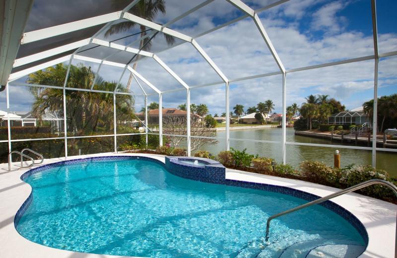 Vacation rental pool at Horizons Rentals.